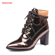 Stylesowner Superstar Band Ankle Boots 4 Colors Metallic Patent Leather Chunky High Heel Lace Up Short Boots Shoes Women Pumps
