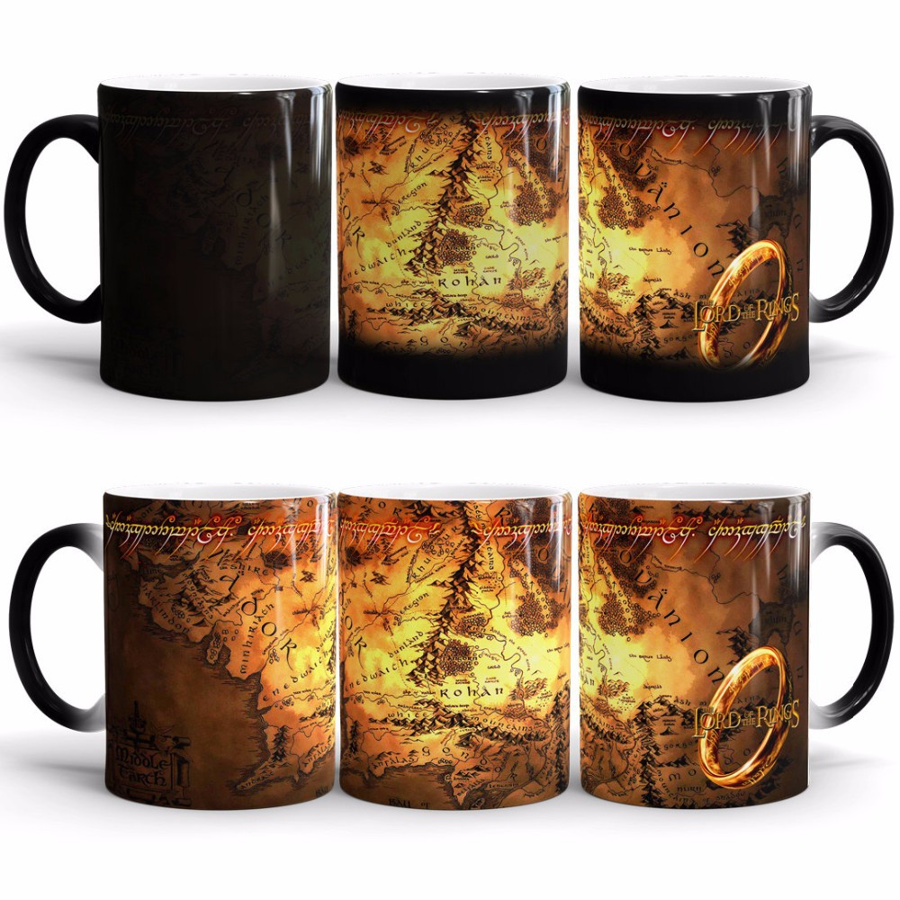 Creative Magic Mug,Lord of the Rings Hot Drink Cup Color Changing Mug Potter Marauders Map Mischief Managed Wine Cup Gift
