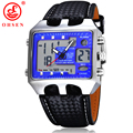 2017 OHSEN Mens Sports Watches Outdoor Military Watch Blue Dial Black Leather Strap Casual Dress Wristwatch Relogios Masculinos
