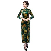 Shanghai Story 2019 Velvet Chinese Dress Long Sleeve Fleece Qipao Chinese Traditional Dress Women's Long Cheongsam