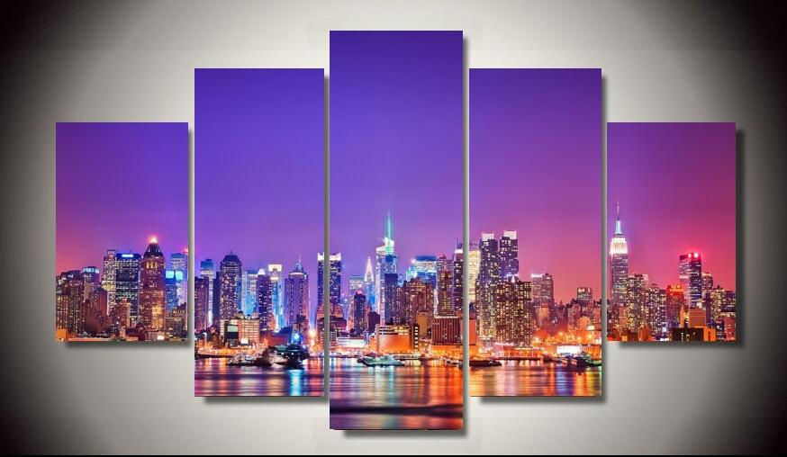 no frame printed new york city skyline poster 5 piece painting wall art room decor poster canvas. Black Bedroom Furniture Sets. Home Design Ideas