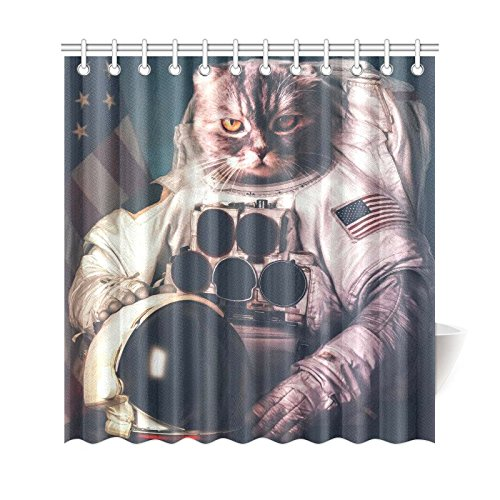 Universe Galaxy Space Hipster Astronaut Cat Home Decor Polyester Fabric Shower Curtain Bathroom Sets 69 X 72 Inches