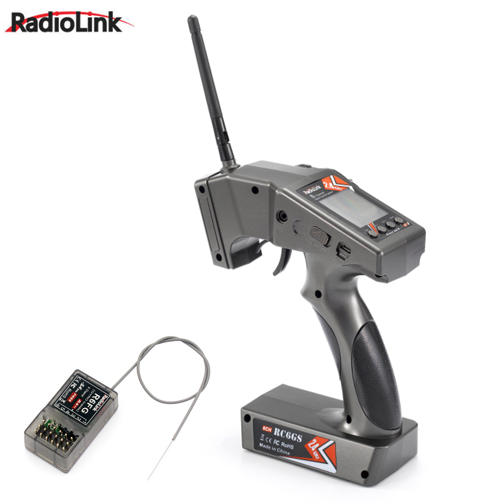 RadioLink TX RC6GS 2.4G 6CH RC Car Controller Transmitter&R6FG Gyro Inside Receiver for RC Car Boat (400m Distance)