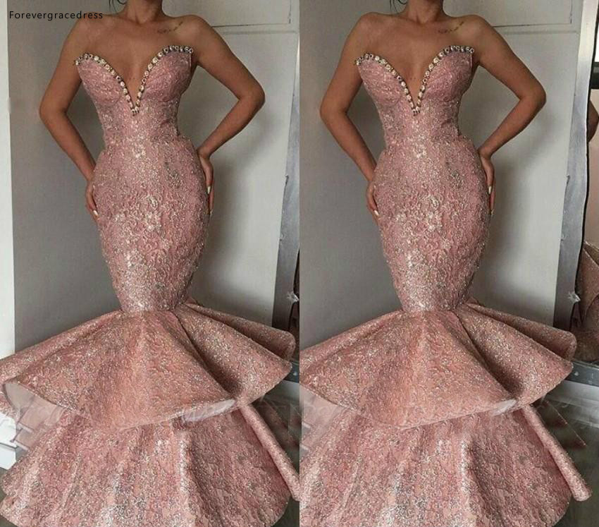 Pink Color Beaded   Prom     Dresses   Sexy Mermaid Sweetheart Pageant Holidays Graduation Wear Formal Evening Party Gowns Plus Size