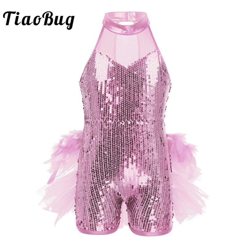 TiaoBug Kids Girls Sequins Ballet Leotard Mesh Ruffles Feathers Ballet Tutu Children Stage Performance Jazz Latin Dance Costume