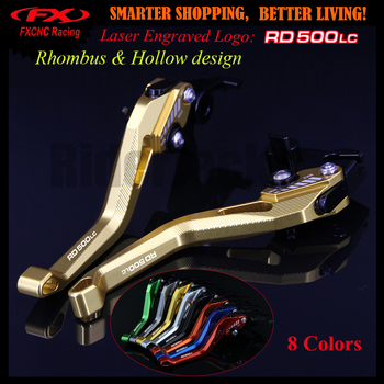 Logo 3D Design Rhombus Hollow Design Black patent For Yamaha RD500LC 500 LC All Years CNC Golden Motorcycle Brake Clutch Levers image