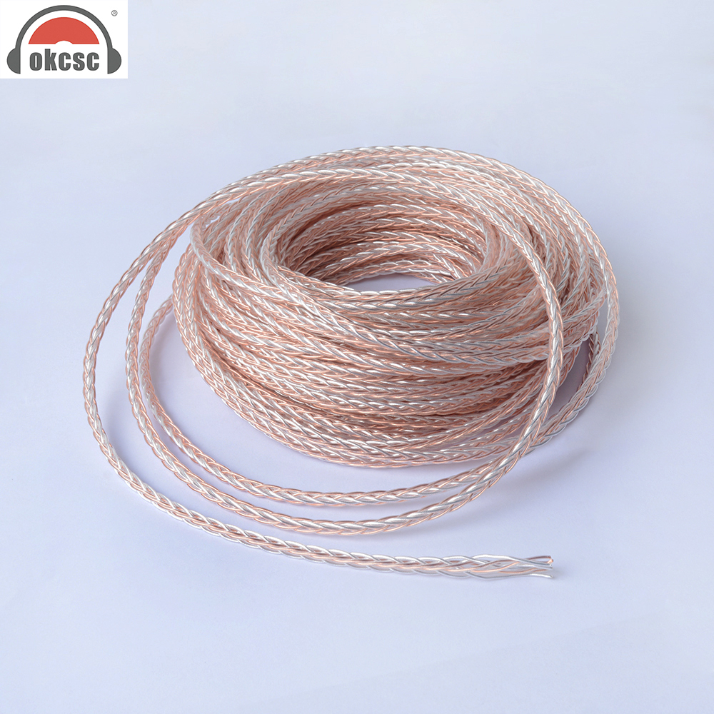 OKCSC High Quality DIY 8 Core Upgrade Earphone Cable Professional Audio Headset Wire Copper and Sliver