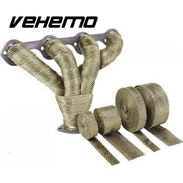 Vehemo 2x5m Titanium Temp Exhaust Heat Wrap Army Green Heater Resistant Downpipe 10 Ties New Replacement For BMW HONDA YAMAHA