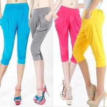 Women Summer Loose Harem Pants Candy Color Elastic Capris Pockets Trousers New Arrival