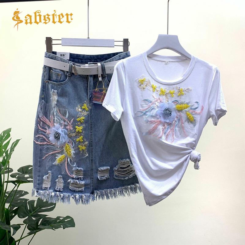 2019 New Fashion Embroidery Sequins Harajuku Suit High Quality Women's Two Pieces Sets T Shirt And Skirt With Belt XZ335