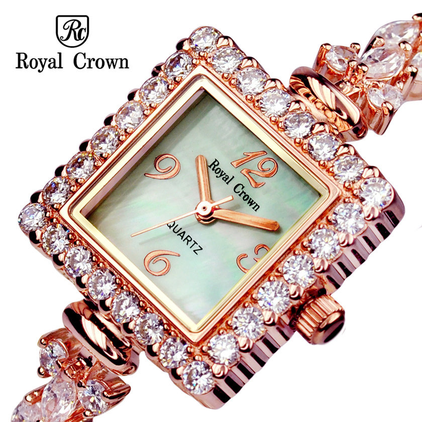 Royal Crown Lady Women's Watch Japan Quartz Jewelry Hours Fine Fashion Setting Crystal Bracelet Luxury Rhinestones Girl Gift цена
