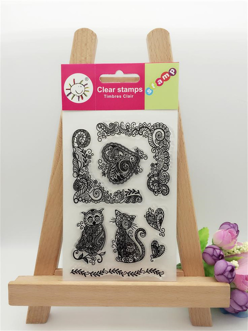 scrapbook DIY paper card craft OWL and cat  clear STAMPS FOR PHOTO scrapbooking stamp for  wedding gift CL-123 lovely animals and ballon design transparent clear silicone stamp for diy scrapbooking photo album clear stamp cl 278