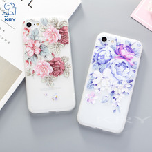 Zagter soft tpu red purple rose flower back cover case For