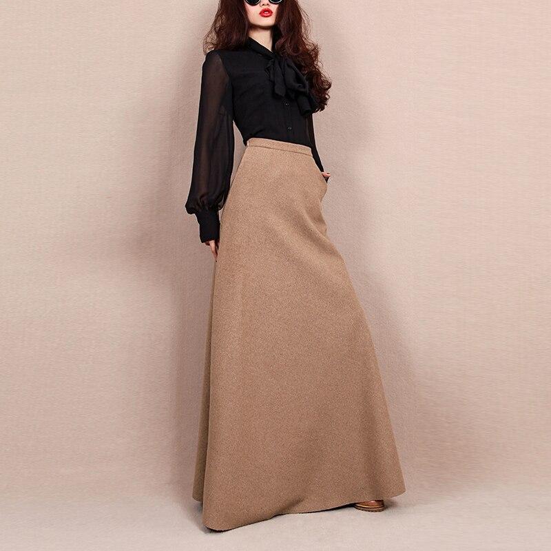 Européenne Femme automne hiver plus la taille haute taille longue 50% de laine jupe élégante maxi une ligne tutu jupes jupe femme salon