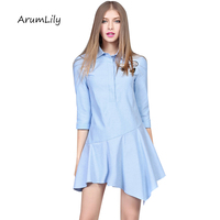 Korean Cotton And Linen Women S Embroidery Large Swing Irregular Cropped Lapel Dress Vestidos Curto