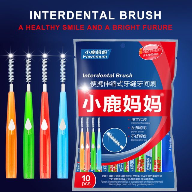 10pcs Adults Interdental Brush Clean Between Teeth Dental Floss Pick Push-pull Toothpick Cleaning Dental Brushes Teeth Care