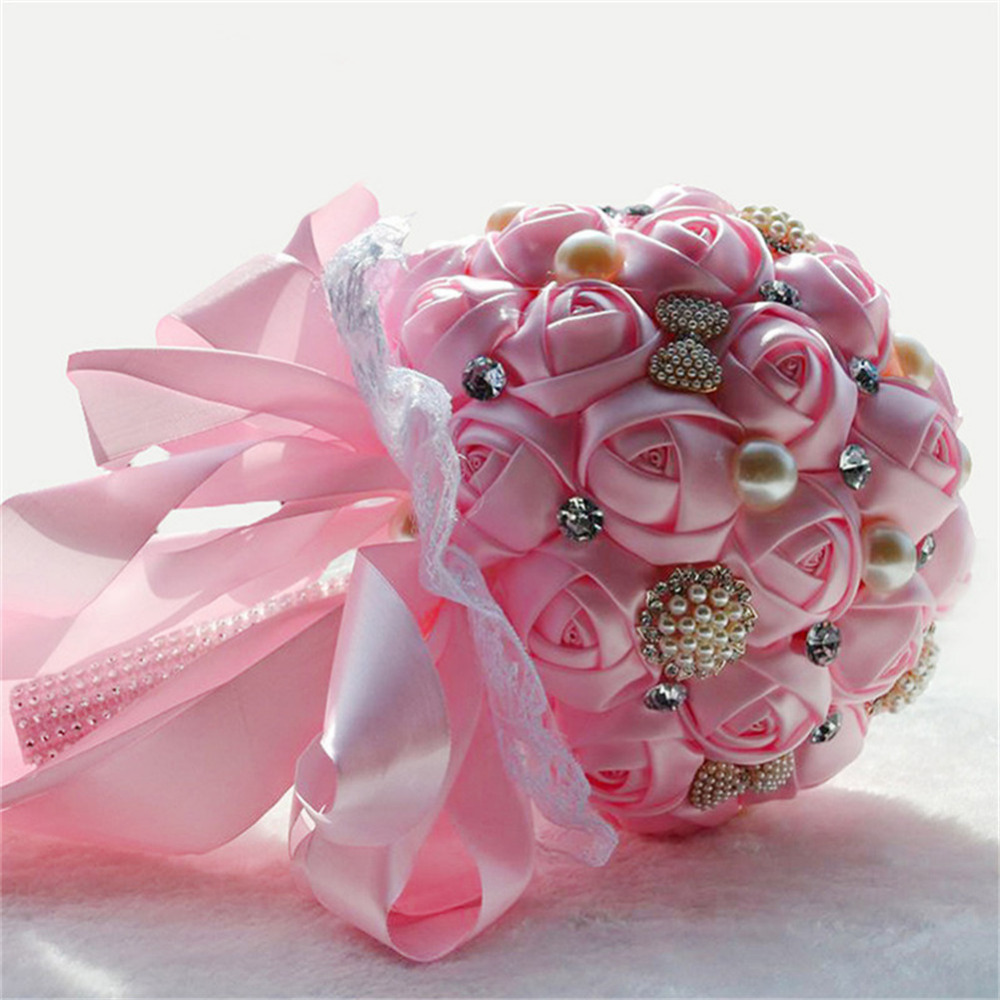 Romantic Solid Color Bride Hand Held Flowers Bridal Bouquets Silk