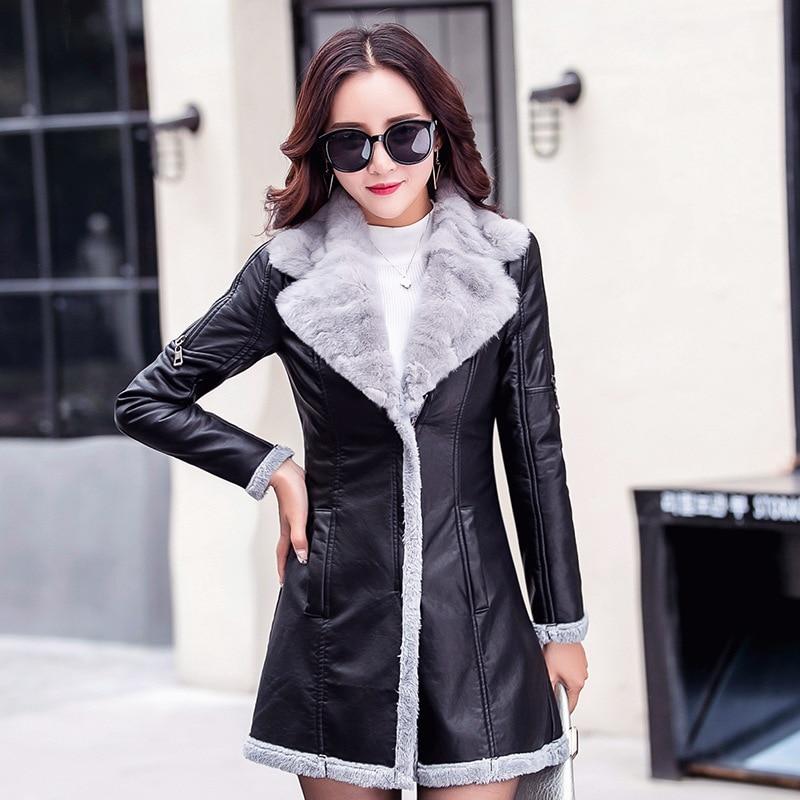 Winter 2019 New Female Slim Winter Warm Jackets Fashion   Leather   Pu Jacket Big Fur Collar Long Plus Size Pu Jacket Outwear Coat