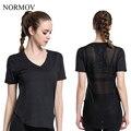 NORMOV S-XL Mulheres Fios de Algodão T-Shirt Da Forma T-Shirt de Treino Respirável Tempo Aventura Tops Musculação T-shirt Das Mulheres