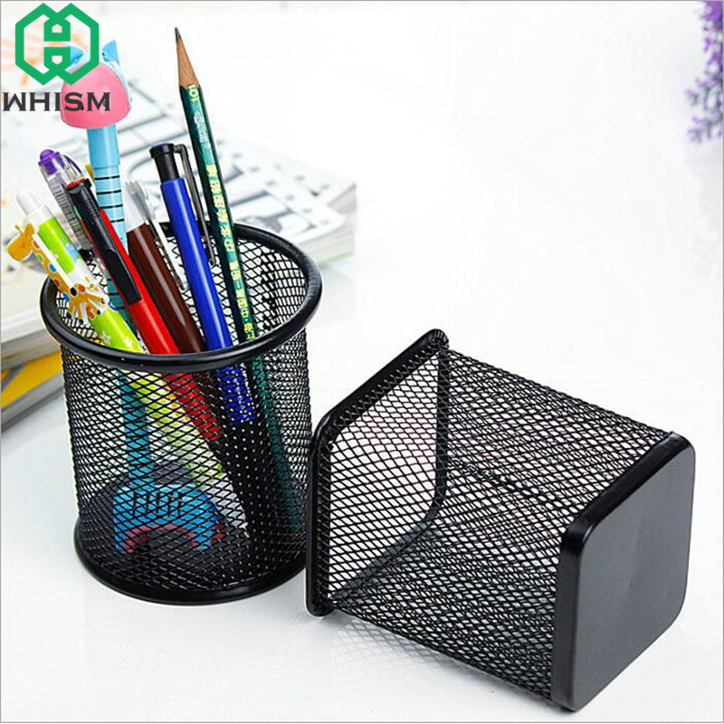 Desk Accessories & Organizer Bright Office Desk Pen Ruler Pencil Holder Cup Mesh Organizer Container New Pen Holder Desk Organizer Pen Holders