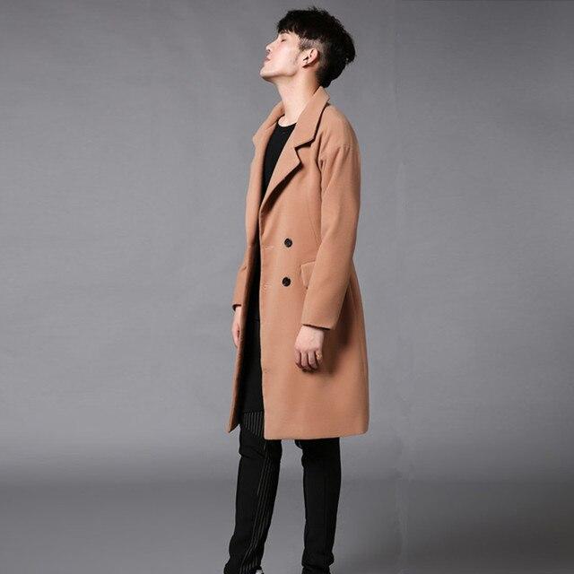 The 2017 men's winter long coat Metrosexual fashion woolen coat leisure men's F104 P105