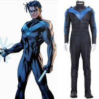 Adult superhero Batman Costume Arkham City Nightwing robin Cosplay Halloween Carnival Costume for Men custom made
