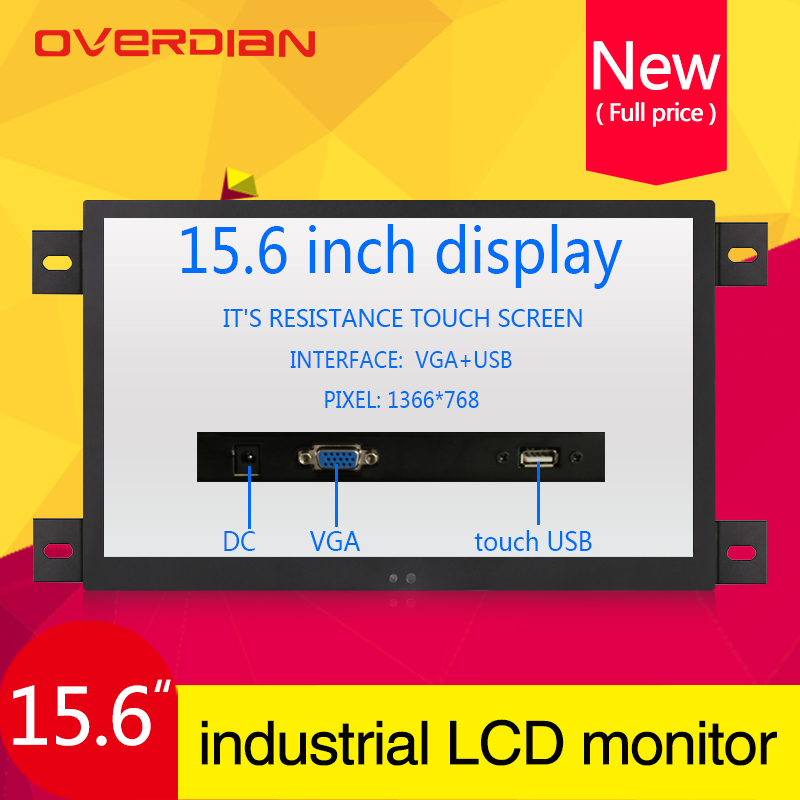 "15.6""/15""VGA/USB Interface Industrial Control Lcd Single Point Touch Screen Monitor Metal Shell Emedded Frame1366*768"