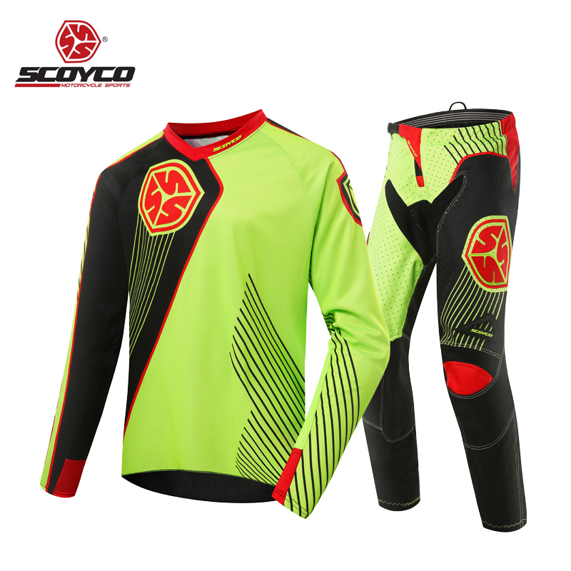 SCOYCO Moto Jerseys Pants Set Suit Hip Pads Motorcycle Biker Cycling Dirt Bike Offroad Jersey Pant live team cycling jerseys suit a001