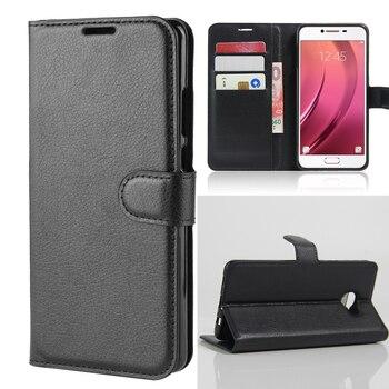 Tarjeta de funda de cartera fundas de teléfono para Samsung Galaxy C7 C7 Pro C7Pro Pu funda protectora
