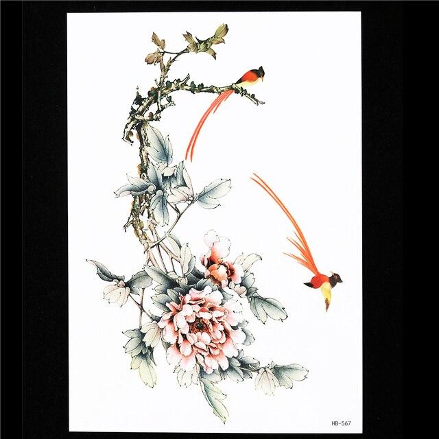 1 Pc Faux Traditionnel Temporaire Fleur Oiseaux Decal Tattoo Hb567