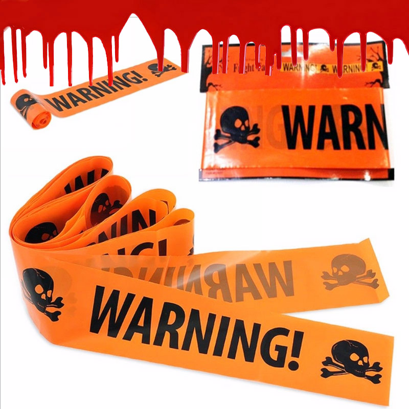 6m Skull Warning line isolation plastic PE yellow easter safety cordon belt Halloween Decoration Props in Party DIY Decorations from Home Garden
