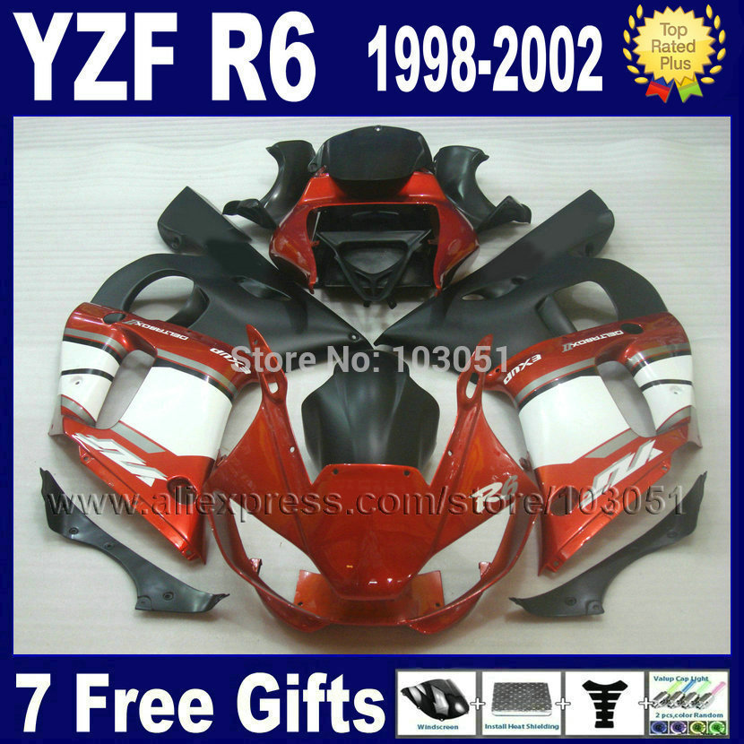 Motorcycle full fairings for YAMAHA YZF R6 1998 1999 2001 2002 orange white  YZFR6 98 99 01 02 YZF600 Fairing aftermarket parts