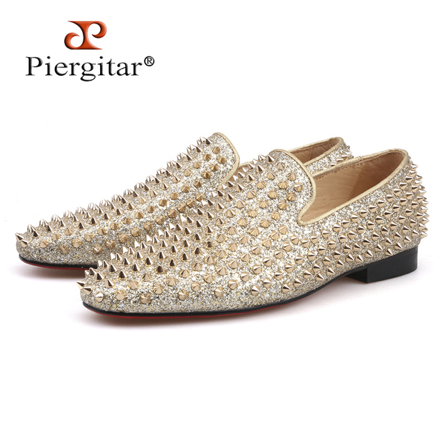 Piergitar 2018 Handmade gold spikes shoes luxurious men leather loafers Fashion Party and wedding men's casual shoes plus size