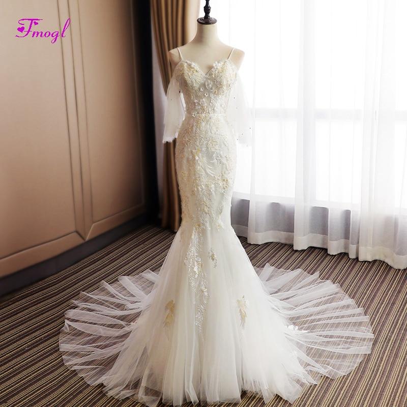 Sweetheart Mermaid Wedding Gown: Fmogl Sexy Sweetheart Neck Pearls Mermaid Wedding Dresses