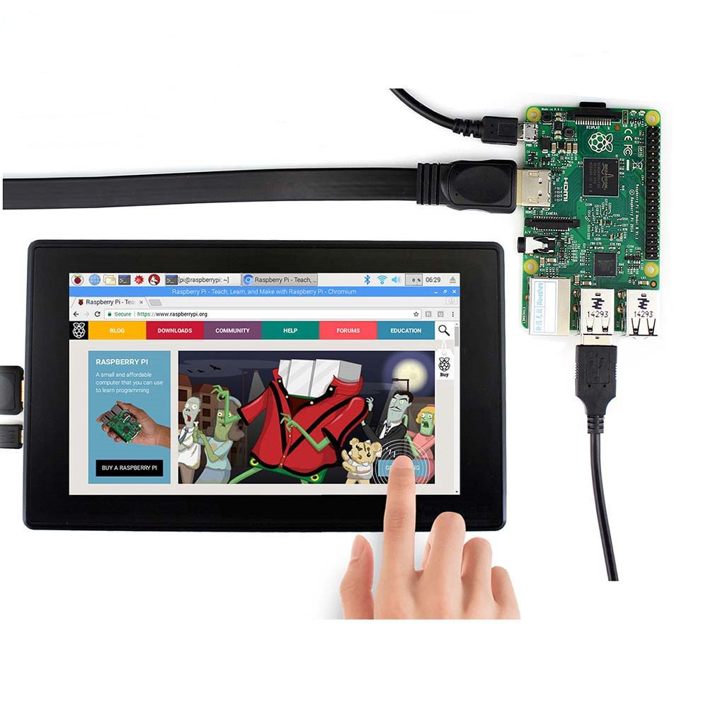 Waveshare 7inch HDMI LCD (H)+Case,1024x600,IPS,Capacitive Touch LCD,support WIN10 IOT,Win 10/8.1/8/7,Raspberry Pi,Banana Pi etc