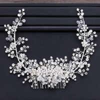 Shiny Kristall Perle Perlen Haar Kamm Tiara Krone Kopf Stück Braut Kämme für Haar Stirnband Braut Hochzeit Haar Zubehör SL