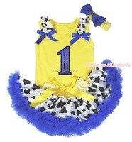 Bling 1st urodziny żółty top krów mlecznych noworodków pettiskirt outfit set 3-12 m mapsa0455
