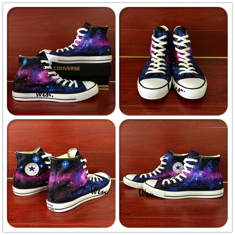 233bfe465da7 Custom Hand Painted Converse Shoes Purple Galaxy Nebular Men Women ...