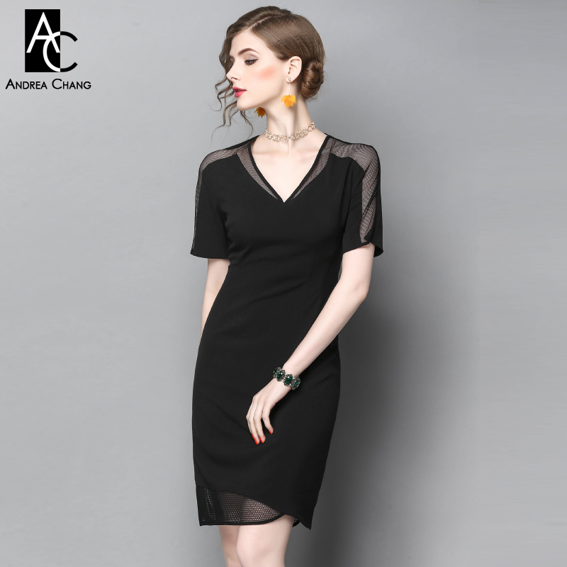 spring summer runway designer womans dress black slim dress transparent shoulder mesh patchwork bottom fashion work office dress