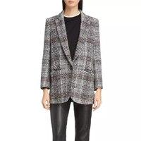 Шерстяной Блейзер, женское твидовое пальто, мода 2018, для подиума, элегантные, на одной пуговице, женские блейзеры, офисные