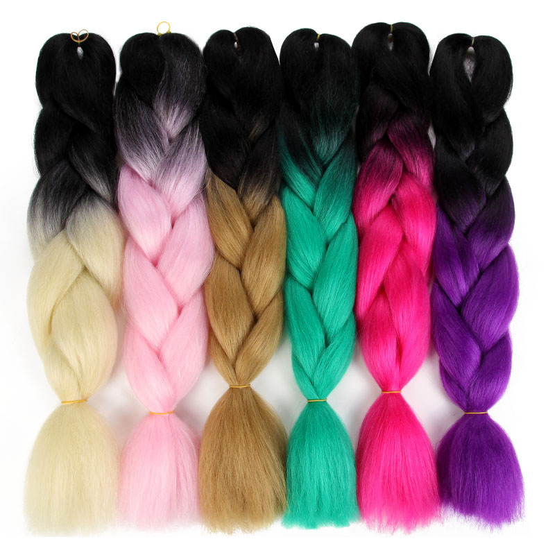 Hair Braids 24 Ombre Kanekalon Synthetic Hair Jumbo Braiding Hair For Jumbo Braids 100g/pack Blonde Grey False Hair Extensions