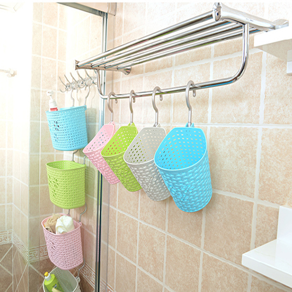 Soft Weaving Plastic Vehicle Car Gathering Basket Bathroom Shower Hanging With Hook Kitchen Table Containers