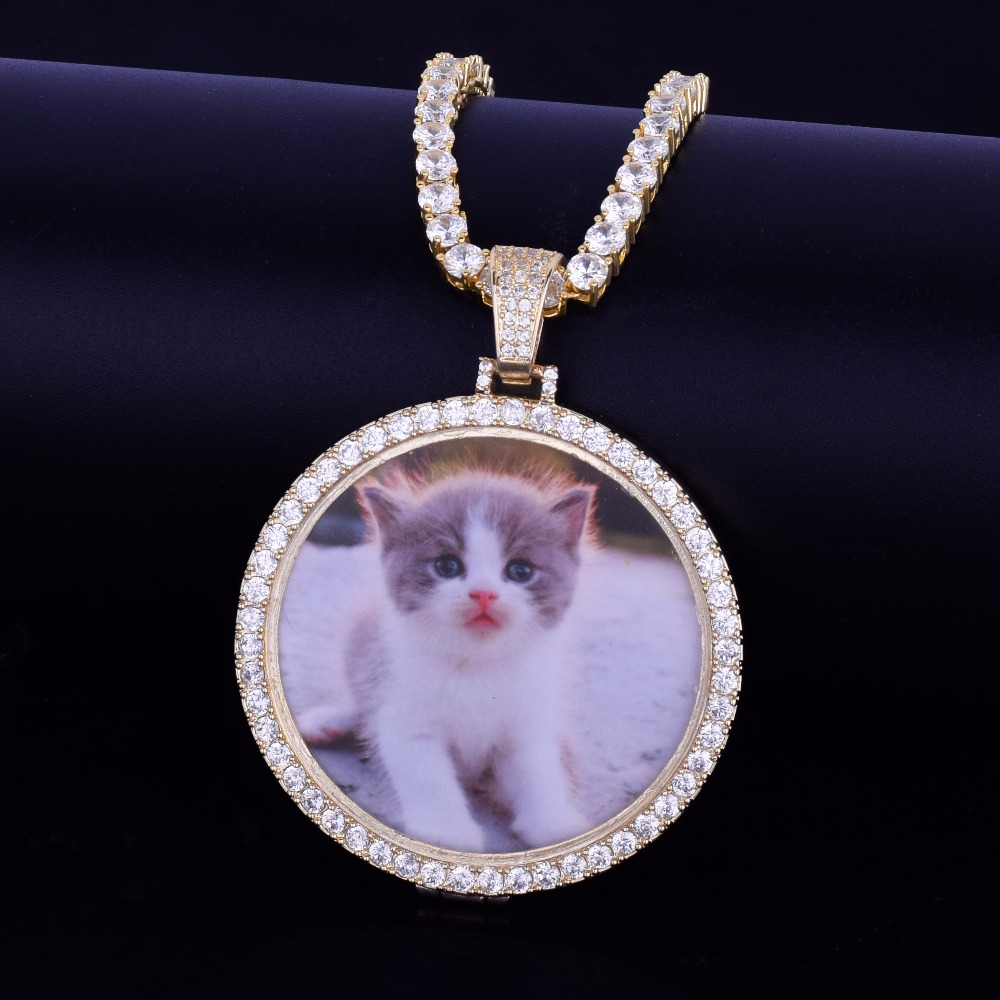 Custom-Made-Photo-Medallions-Necklace-Pendant-With-4mm-Tennis-Chain-Gold-Silver-Color-Cubic-Zircon-Men (4)
