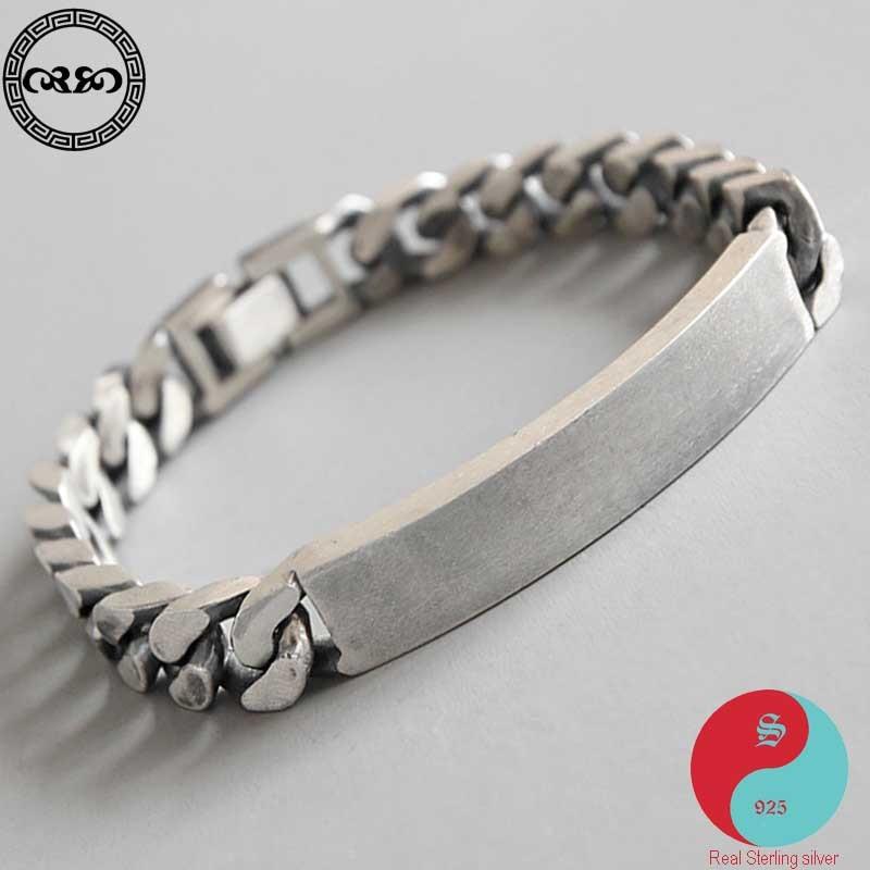 Coréen réel pur S925 en argent sterling minimaliste rétro ancien fait à la main chaîne bracelet blanc bande boucle bracelet bijoux fins hommes