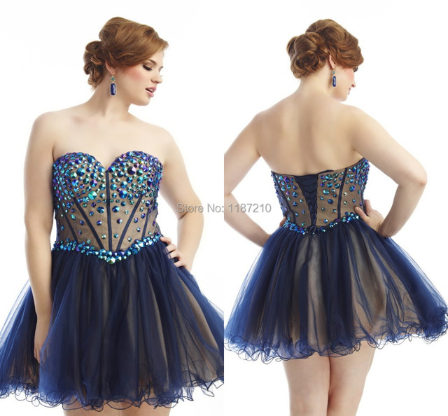 10504 Customed Navy Blue Homecoming Dresses Short Plus Size Prom Dress 2015 Fashion Rhinestone Sweetheart Backless Lace Up Gowns Prom En Vestidos