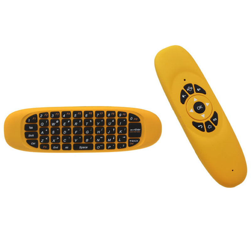 Mini Wireless Keyboard Air Mouse Remote Control For Android TV Box Color:Yellow