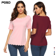 PGSD New Summer wave-edged slim Tee O-Neck Short sleeve casual T-shirt female Pullover Simple solid color Fashion women clothes цена