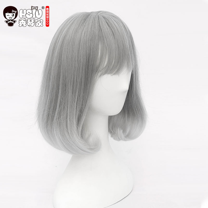 HSIU NEW Grandma gray gradient white Synthetic Hair daily Cosplay Wig lolita wig Costume Play Wigs Halloween Costumes Hair lolita princess roll split cosplay costume wig 65cm chip on synthetic cos hair free shipping
