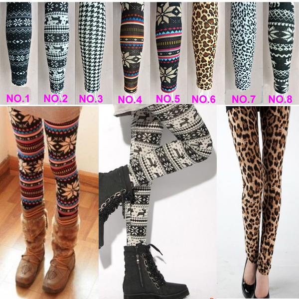 Fashion Thin Colorful Leafdotleopardpattern Snowflakes Womens