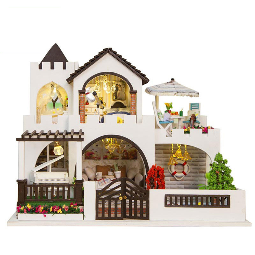 DIY Miniature Room Wooden Doll House Dream Castle with Furniture LED Lights Dollhouse Toys for Children